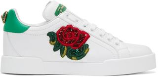 Dolce and Gabbana - White Embroidered Floral Sneakers