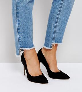 ASOS DESIGN - Wide Fit Paris pointed high heeled court shoes in black
