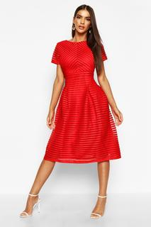 boohoo - Womens Boutique Full Skirted Prom Midi Dress - Red - 8, Red