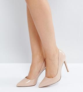 ASOS DESIGN - Wide Fit Paris pointed high heeled court shoes in almond
