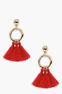 boohoo - Womens Hammered Hoop Tassel Earrings - One Size, Red