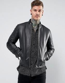 ASOS DESIGN - leather racing biker jacket in black