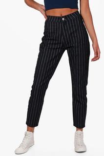 boohoo - Womens High Rise Stripe Skinny Tube Jeans - black - 6, Black