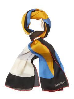 "Valentino - Printed Silk Long Scarf, 68"" x 27"""