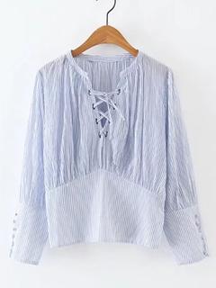 SheIn - Lace Up V Neck Pinstripe Blouse