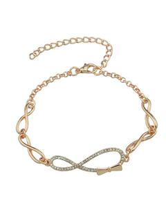 SheIn - Trendy Rose Gold Rhinestone Bow Shape Chain Link Bracelet