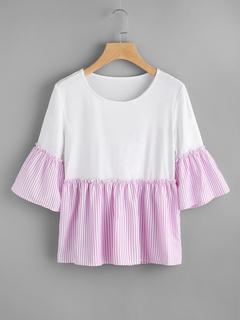 SheIn - Contrast Striped Trim T-shirt