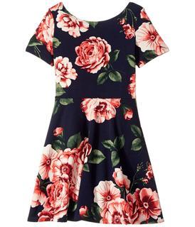 fiveloaves twofish - Blooming Skater Dress (Big Kids) (Navy) Girl's Dress