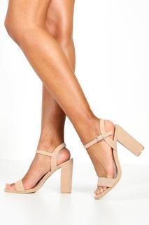 boohoo - Womens Block Heel Barely There Heels - Beige - 6, Beige