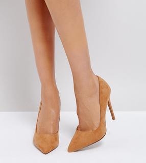 ASOS DESIGN - Wide Fit Paris pointed high heeled court shoes in caramel