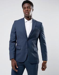 MANGO - Man Slim Fit Check Suit Jacket In Navy