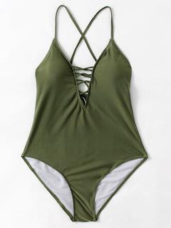 SheIn - Criss Cross Plunge Neckline Open Back Swimsuit