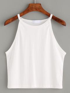 SheIn - White High Neck Crop Cami Top