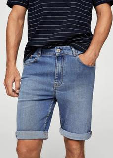 MANGO MAN - Medium wash denim bermuda shorts