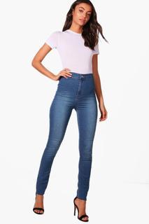 "boohoo - Womens Tall 38"" Leg High Waist Jeans - blue - 6, Blue"