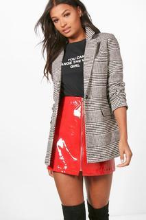 boohoo - Womens Check Wool Look Blazer Coat - Black - 12, Black