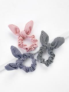 SheIn - Knotted Bow Plaid Hair Tie 3pcs