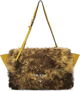 Prada - Yellow Shearling Messenger Bag