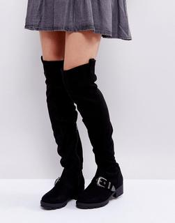 Truffle Collection - Flat Chunky Over The Knee Boots