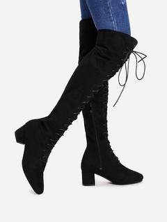 SheIn - Lace Up Front Side Zipper Thigh High Boots