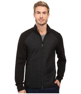 Perry Ellis - Quilted Mix Media Knit Jacket (Black) Men's Coat