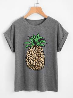 SheIn - Pineapple Print Loose T-Shirt