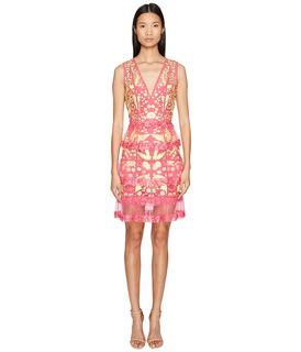 Marchesa Notte - Sleeveless Cocktail w/ Guipure Lace Tiered Skirt (Fuchsia) Women's Dress