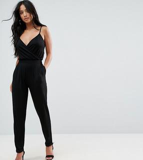 ASOS Petite - ASOS DESIGN Petite cami wrap jumpsuit with peg leg