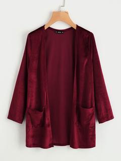SheIn - Pocket Front Velvet Coat