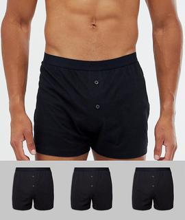 ASOS DESIGN - jersey boxers in black 3 pack