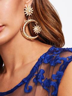 SheIn - Rhinestone Moon Drop Earrings
