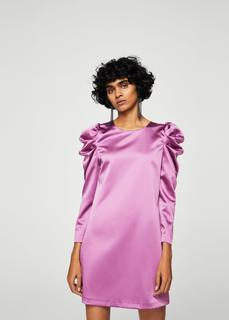 MANGO - Puffed-shoulder satin dress