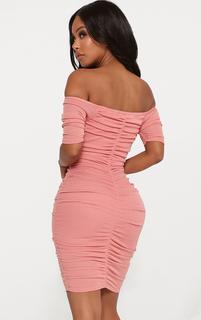 PrettyLittleThing - Shape Dusty Rose Lightweight Knit Bardot Dress, Dusty Rose