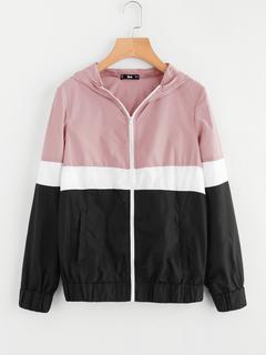 SheIn - Cut And Sew Hoodie Windbreaker Jacket
