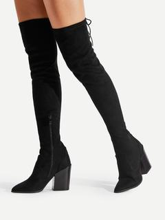 SheIn - Pointed Toe Block Heeled Thigh High  Boots