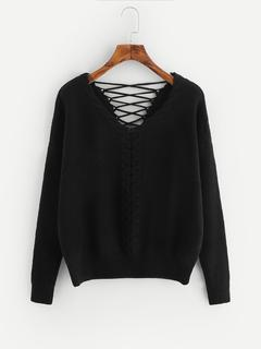 SheIn - Lace Up Back Cable Knit Sweater