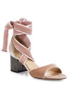VALENTINO GARAVANI - Ballet Fever Velvet Ankle-Wrap Block-Heel Sandals