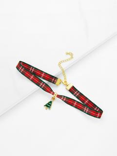 SheIn - Christmas Tree Detail Gingham Print Choker