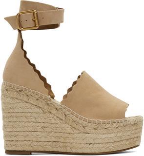 Chloé - Beige Suede Lauren Espadrille Wedge Sandals