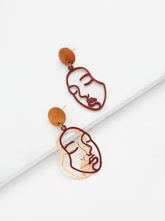 SheIn - Two Tone Face Design Drop Earrings