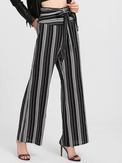SheIn - Self Belted Vertical Striped Pants