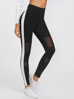 SheIn - Side Panel Mesh Insert Empire Leggings