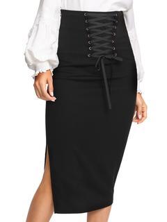 SheIn - Grommet Lace Up Split Midi Skirt