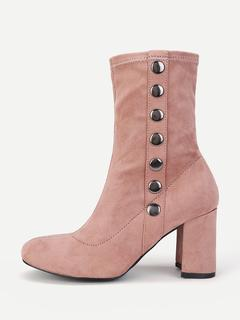 SheIn - Side Button Block Heeled Ankle Boots