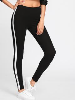 SheIn - Grommet Detail Contrast Panel Leggings