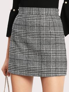 SheIn - Wales Check Zip Back Skirt