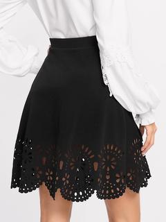 SheIn - Scalloped Laser Cut Trim Skirt