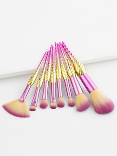 SheIn - Ombre Handle Makeup Brush Set 8pcs