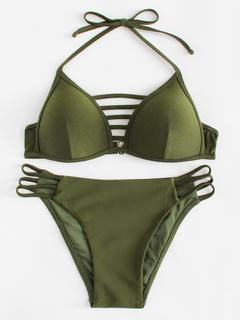 SheIn - Ladder Cut Out Side Halter Bikini Set