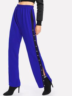 SheIn - Faux Pearl Split Side Wide Leg Pants